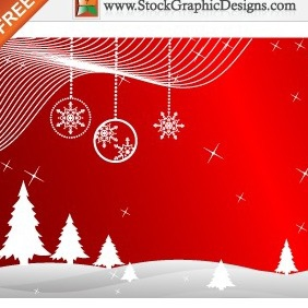 Freebie: Winter Red Background Vector With Christmas Trees - vector gratuit(e) #212239