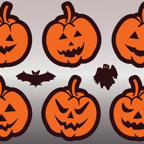 Halloween Pumpkins Vector - Free vector #212449