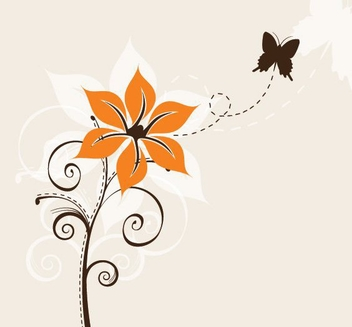 Flower and Butterfly - Kostenloses vector #212699