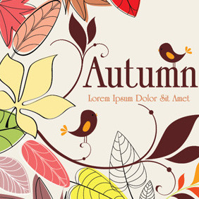 Autumn Background With Birds - vector gratuit #213079