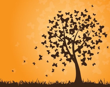Butterflies Tree - Free vector #213119