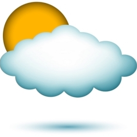 Cloud Shape With Sun - Free vector #213309