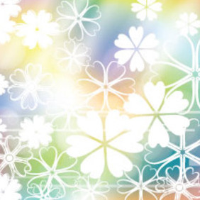 Empty White Flowers In Colored Background - Free vector #214089