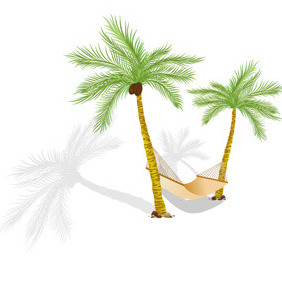 Palms With Hammock Free Vector - Free vector #214249