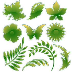 Green Leaf Vector - Free vector #214259