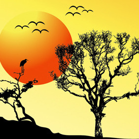 SUNSET BACKGROUND TREE - vector gratuit #214339