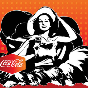 Coca-Cola Girl Vector - Free vector #214789