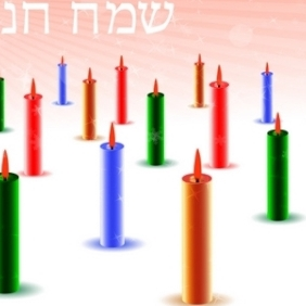 Colorful Candles Hanukkah Card - vector gratuit #214829