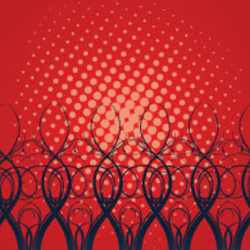 Black Swirls In Red Dotted Vector - Free vector #215189