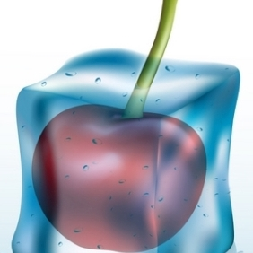 Cherry In Ice Cube - vector gratuit #215519