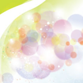 Abstract Colored Transparent Bubbles In Green Background - Free vector #215759