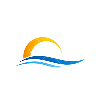Free abstract water beach sunset logo vector - бесплатный vector #216669