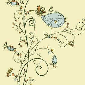 Leaf Vector Bird On Floral - Kostenloses vector #216759