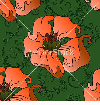 Free pattern with poppies on a green background vector - vector gratuit #217669