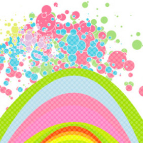 Rainbow & Bubbles Vector Background - Free vector #217729