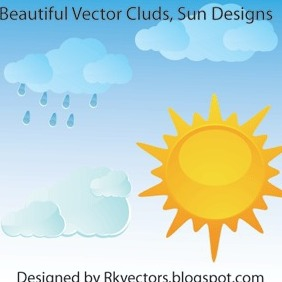 Beautiful Vector Clouds, Sun Designs - vector gratuit #217889