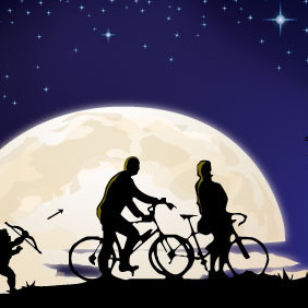 Couple Of Lovers In The Moonlight - Free vector #218009
