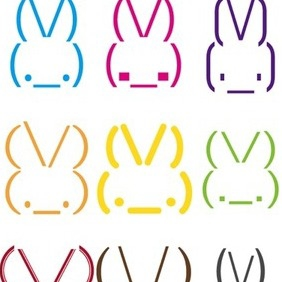 Rabbit Smileys - бесплатный vector #218029