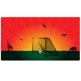 Goal In The Sunset Vector - Free vector #218259