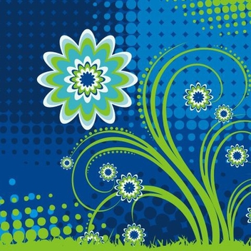 Flower in Blue - Free vector #218409