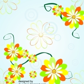 Vector Background With Corner Flower Designs - Free vector #218979