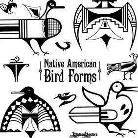Native American Iconic Bird Forms - Free vector #219179