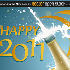 Uncorking The New Year - vector gratuit #219189