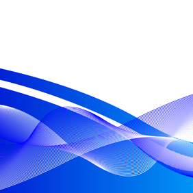 Blue Wavy Abstract Vector Background - vector gratuit #219539
