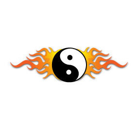 Ying Yang Symbol On Fire Vector - Free vector #219679