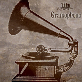 Old Phonograph+Gramophone+Record Player - vector gratuit #220789