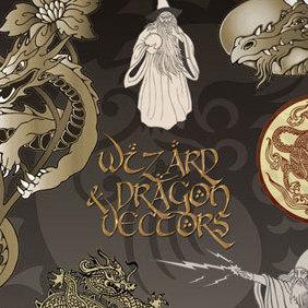Dragon & Wizard Vectors - Kostenloses vector #221249