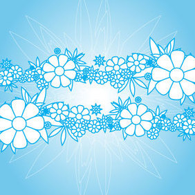 Blue Flowers Background - vector #221339 gratis