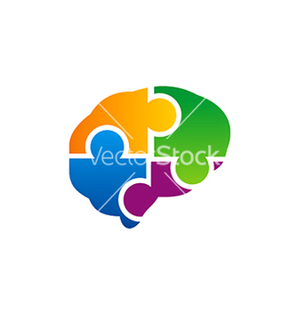 Free brain puzzle colorful logo vector - Free vector #221509