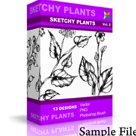Sketchy Plants - vector gratuit #222189