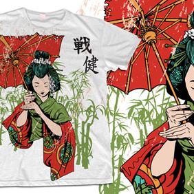 Geisha T-shirt Design - Free vector #222699