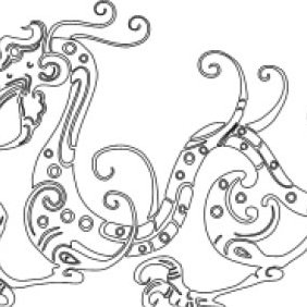 Chinese Style Dragon Stencil - Kostenloses vector #223569