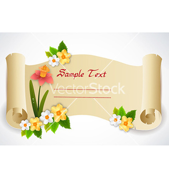 Free spring scroll with floral vector - Kostenloses vector #227579