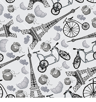 Free pattern with the eiffel tower and bicycles vector - Free vector #232999