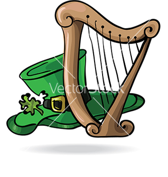 Free hat with a shamrock and the harp vector - Free vector #233049