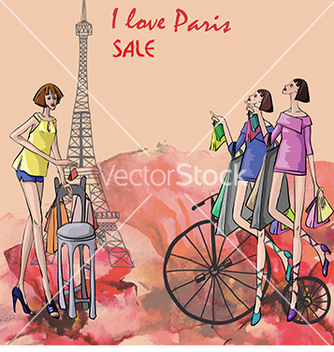 Free card the eiffel tower and parisian vector - Free vector #233169