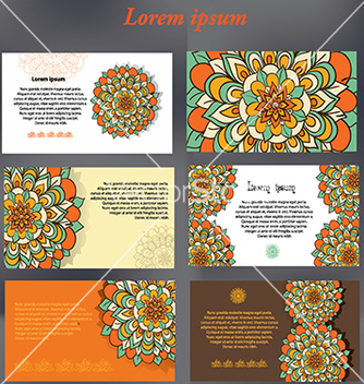 Free set of design cards for text with floral motifs vector - Free vector #233249