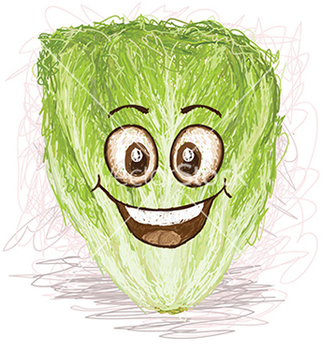 Free happy lettuce vegetable cartoon character smiling vector - Free vector #233389