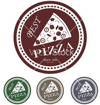 Free best pizza label stamp banner design element vector - Free vector #233469