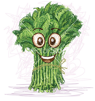 Free happy kangkong vegetable cartoon character smiling vector - Free vector #233579