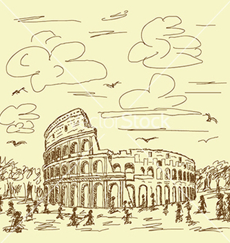 Free vintage hand drawn of famous ancient tourist vector - vector #233679 gratis