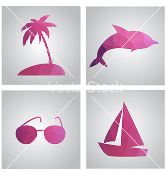 Free set of cards in polygonal style beach island palm vector - Free vector #233949