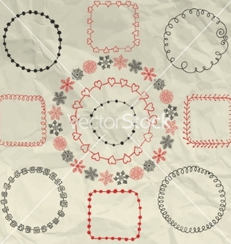Free hand sketched doodle frames design vector - Kostenloses vector #234299