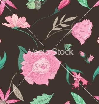 Free summer floral pattern on brown background vector - Free vector #234499