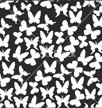 Free pattern with white butterflies on a black vector - Free vector #234609