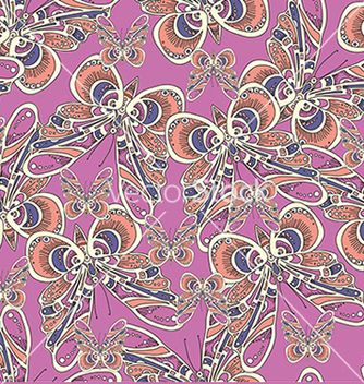 Free beautiful pattern with butterflies on a pink vector - Free vector #234679